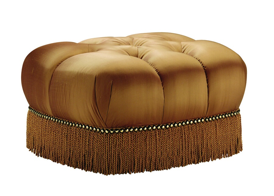Alexander Ottoman shown with:Button tufted seatBullionFrench Natural nailhead frame trim