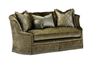 Ariel Sofa shown with:Boxed bench seatDeep skirt with built-in sides and backDecorative tape band along bottom of skirt