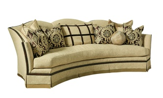"Avery Sofa shown with:Boxed bench seatDeep skirt with built-in sides and backContrast 2½"" band at bottom of skirtHavana finishAntique Brass nailhead frame trim"