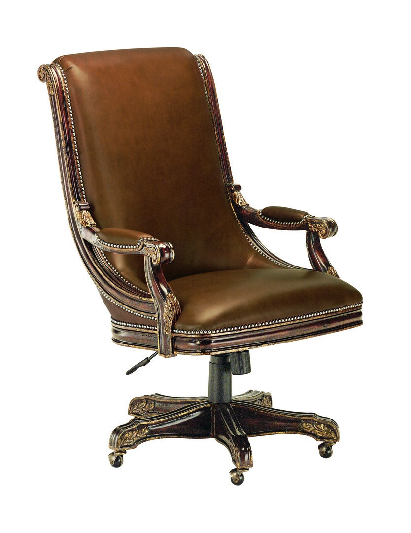 Bradford executive desk chair shown withtight seat and backsignature finishaged gold leaf finish