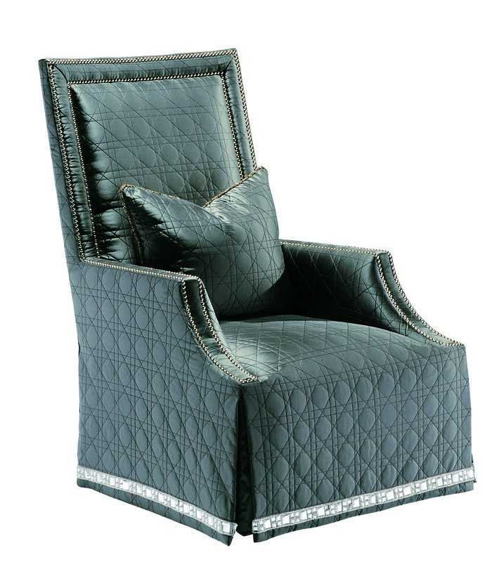 Blair Chair shown with:Tight seatWaterfall skirt with built-in sides and backDecorative tape band on bottom of skirt Silver nailhead frame trim