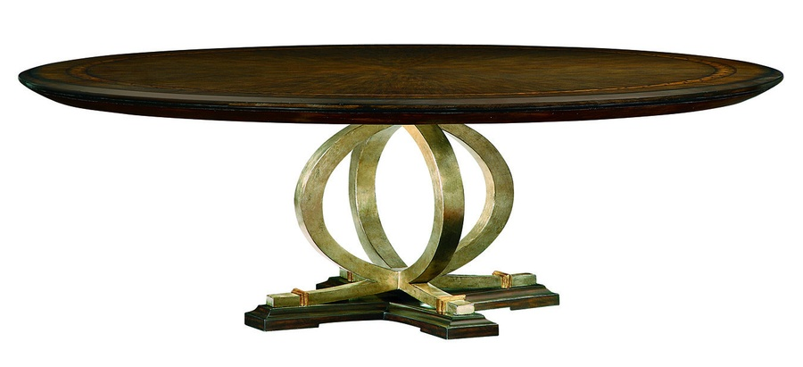 Bolero Dining Table shown with:Havana finish with Ebony paint trimDecorative Walnut top inlayDecorative metalwork in Medici finish withVenetian Gold Leaf finish trim
