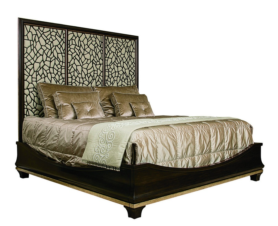 Bolero Bed shown with:Bombay finishBurnished Silver Leaf finish trimUpholstered panel inset beneath ice grill