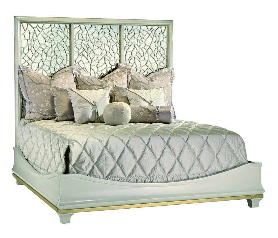 Bolero Bed shown with:Himalaya finishDeco Silver Leaf finish trimAntique mirror panel inset beneath ice grill