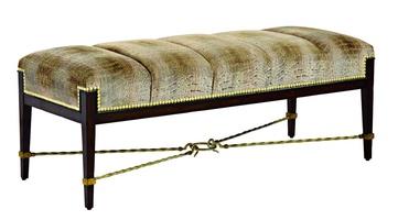 Bolero Bench shown with:Channeled SeatHavana finishEbony Paint finish trimDecorative metalwork in Medici finish withSpecialtyLeaf finish trimZen nailhead frame trim