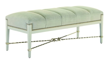 Bolero Bench shown with:Channeled SeatHimalaya finishDeco Silver Leaf finish trimDecorative metalwork in Deco Silver finishSilver nailhead frame trim