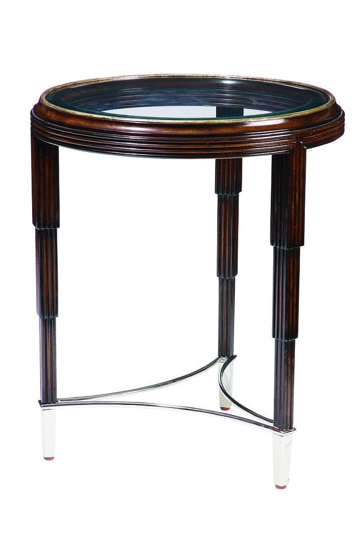 Bossa Nova ChairsideTable shown with:VersaillesfinishPolished Nickel finish on metal stretcher and ferrulesInset clear glasstop with beveled edge