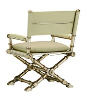 Barrymore Chair shown with:Sling seat with semi-attached cushionSling backBurnished Silver finishAged Silver Leaf finish trimSilver nailhead frame trimMatte Antique Nickel hardware