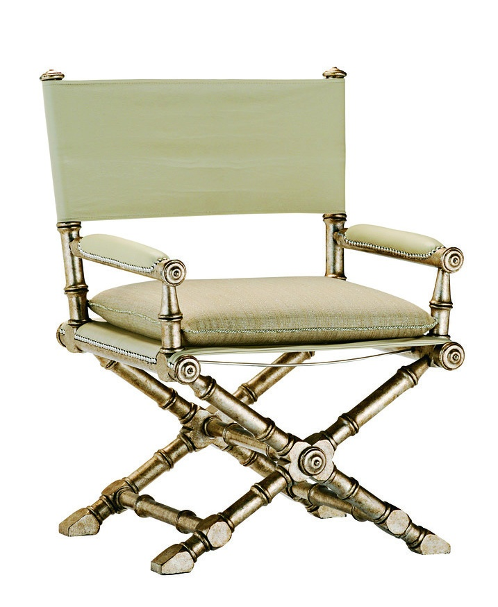 Barrymore Chair shown with:Sling seat with semi-attached cushionSling backBurnished Silver finishAged Silver Leaf finish trim Silver nailhead frame trimMatte Antique Nickel hardware