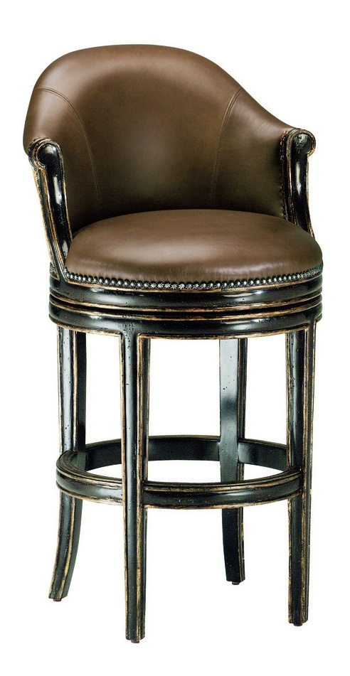 Brussels Barstool shown with:Tight seat and backSumatra finishAged Gold Leaf finish trimBronze Star nailhead frame trim