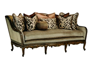 Charmaine Sofa shown with:Boxed bench seatSignature finishAged Gold Leaf finish trimBronze Star nailhead frame trim