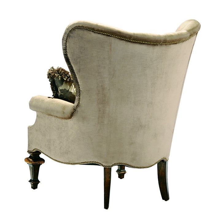 Chandler Chair shown with:Tight seatButton tufted backHeirloom Brentwood finishAged Gold Leaf finish trimZanzibar nailhead frame trim