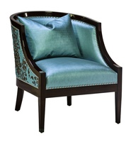Cameron Chair shown with:Tight seat and backBombay finishSilver nailhead frame trim spaced over self fabric tape