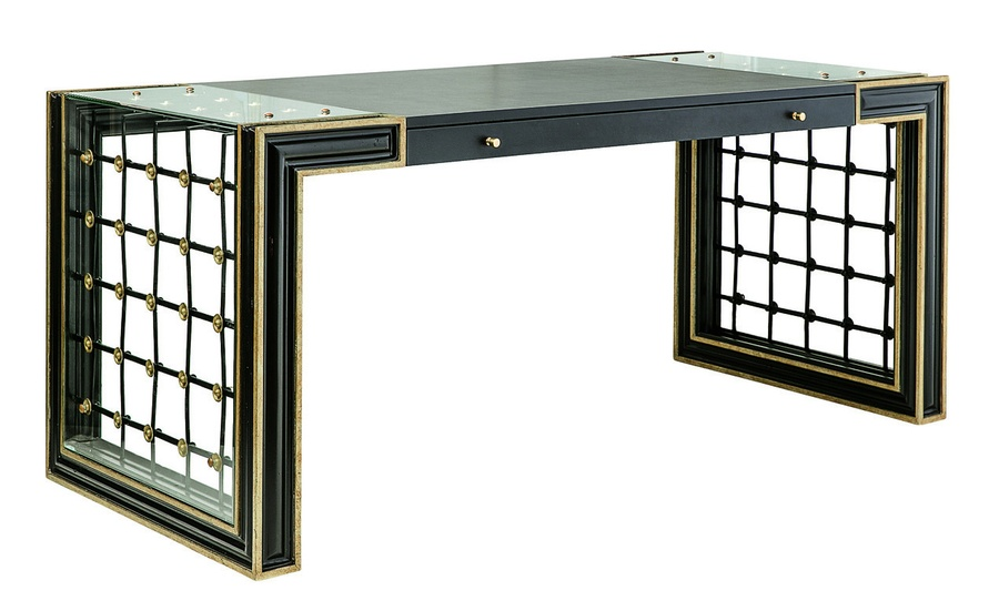 Cross Channel Desk shown with:Noche finishBurnished Silver Leaf finish trimDecorative metalwork in Blackened Iron finish withBurnished Silver Leaf finish trimTop center leather section in Ebony finish