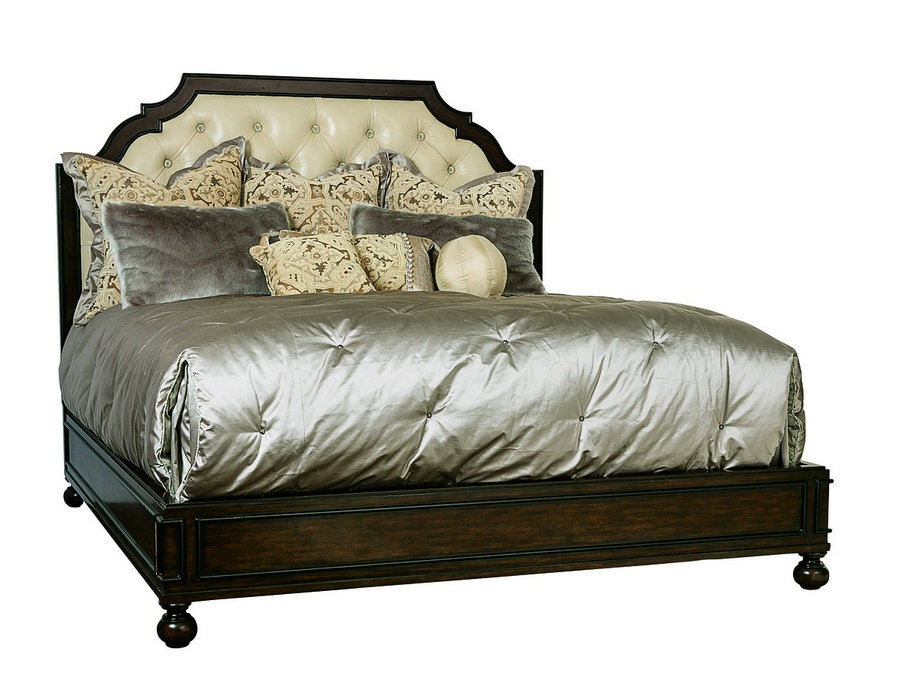 Cross Channel Traditional Panel Bed shown with:Havana finishEbony paint finish trimDiamond tufted upholstered headboardBun Leg