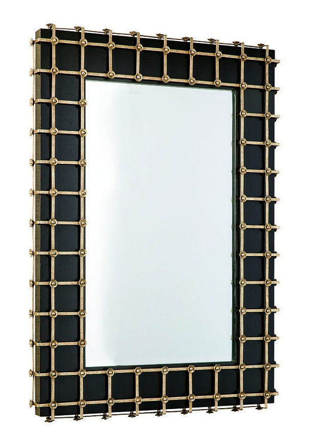 Cross Channel Mirror shown with:Noche finishDecorative metalwork in Burnished Silver finish