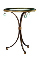 Cross Channel Chairside Table shown with:Bronze finishAged Gold Leaf finish trimClear glass top with beveled edge