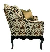 Courtney Chair shown with:Tight seatOld World Vintage Noir finishon exposed wood legsAntique Brass nailheadframe trim
