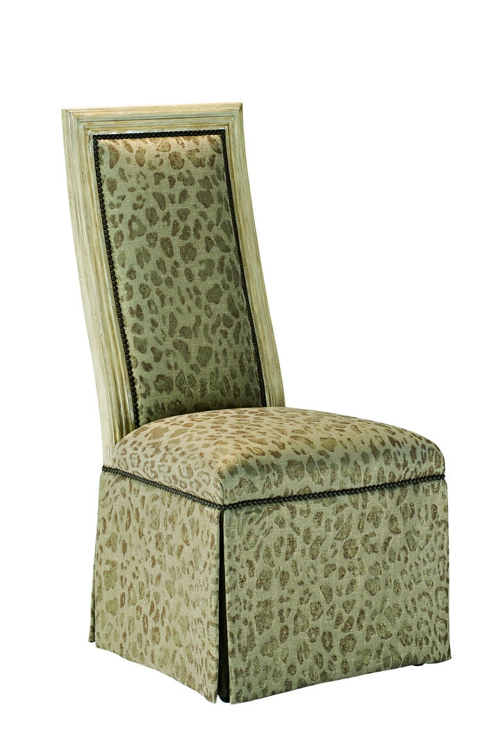 Caldwell Side Chair shown with:Tight seat and backDeep skirt with split back and button detailSignature finish with Aged Silver leaf finish trimMottled nailhead frame trim