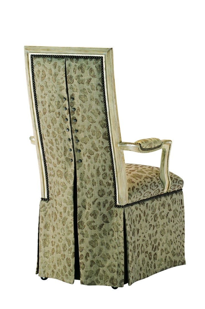 Caldwell Arm Chair shown with:Tight seat and backDeep skirt with split back and button detailSignature finish with Aged Silver leaf finish trimMottled nailhead frame trim