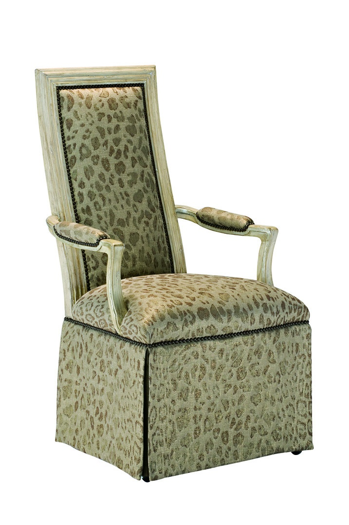 Caldwell ArmChairshown with:Tight seat and backDeep skirt with split back and button detailSignaturefinish with Aged Silver leaf finish trimMottlednailhead frame trim