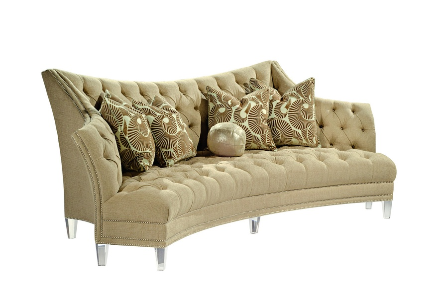 Deville Sofa shown with:Button tuftedseat and backBuilt-to-the-floor base with exposedlegs in Ebony finishSilver nailhead frame trim
