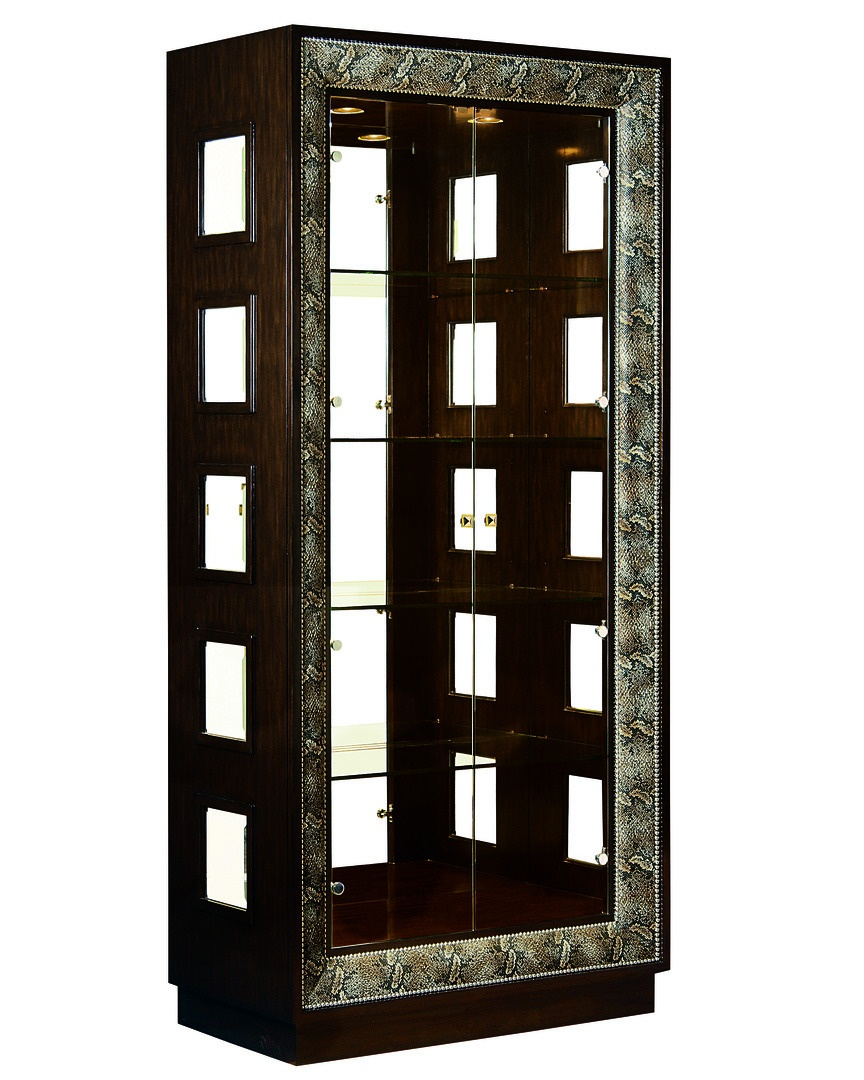 Design Folio Display Cabinet shown with:Bombay finishBurnished Silver Leaf finish trimPyramid Knob in combination of Polished Brass andPolished Nickel finish