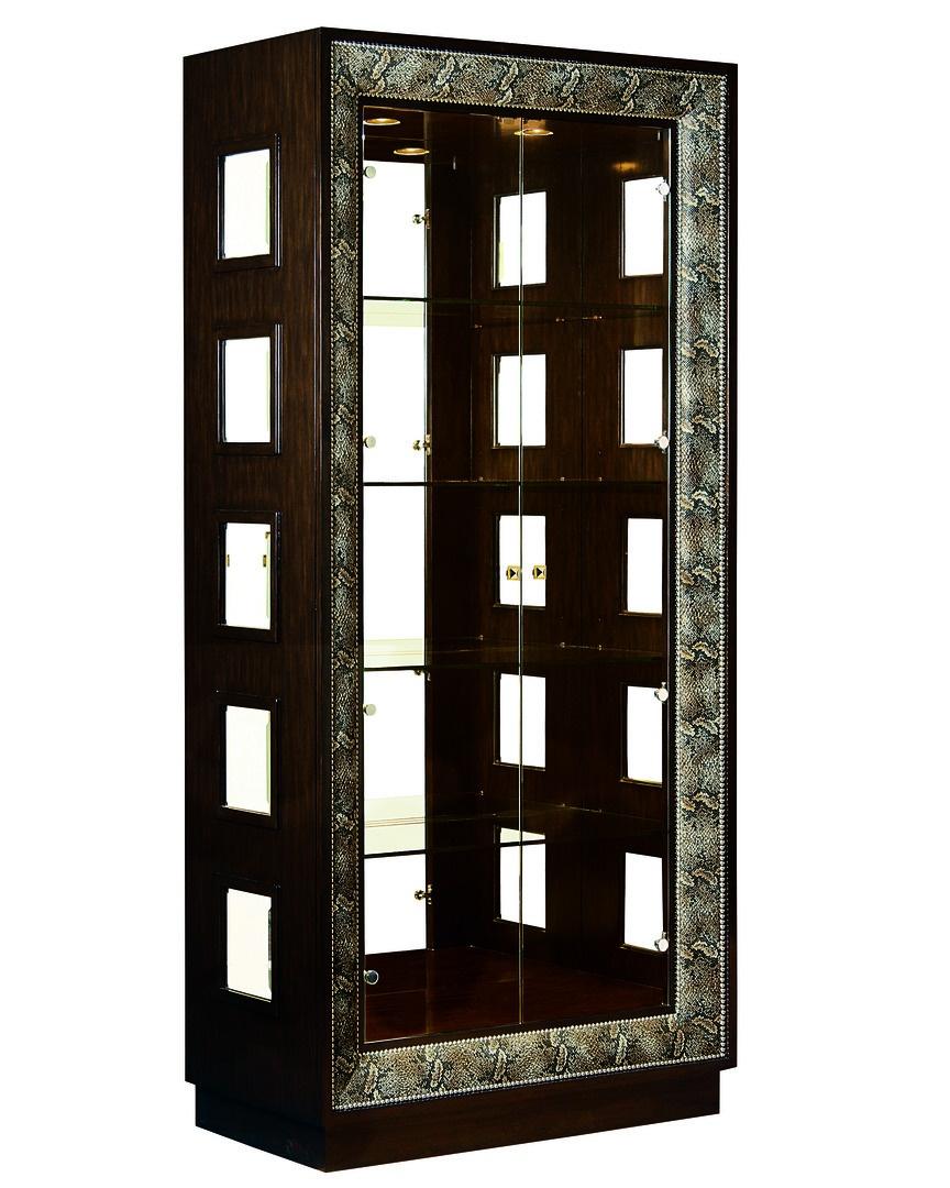 Design Folio Display Cabinet shown with:BombayfinishBurnishedSilverLeaf finishtrimPyramid Knob in combination of Polished Brass andPolished Nickel finish