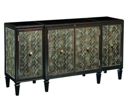Design Folio Credenza/Dresser shown with:Bombay finish with Ebony paint finish trimLeather on doors and side panelsBlack Glass topTransitional LegPyramid Knob decorative hardware in Polished Nickel finish
