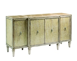 Design Folio Credenza/Dresser shown with:Leather on doors and side panelsPolished Oatmeal Marble topTransitional LegPendant Pull decorative hardware in Polished Nickel finish