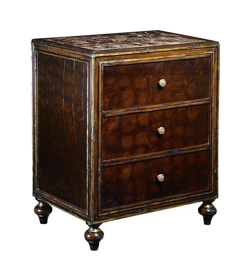 Design Folio Nightstand shown with:Old World Briar finish with Aged Gold Leaf finish trimLeather on drawers and side panelsAntique Madeira Marble topTraditional LegFlower Knob decorative hardware in Antique Brass finish