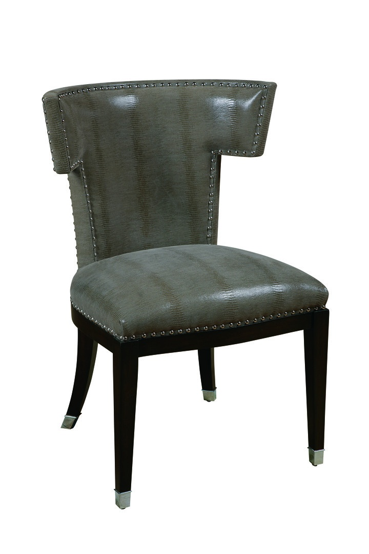 Design Folio Side Chair shown with:Tight seat and backBombay finishSilver nailhead frame trimPolished Nickel hardware