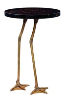 Flamingo Chairside Table shown with:Antique Brass finish on basePolished Raven Shell on top