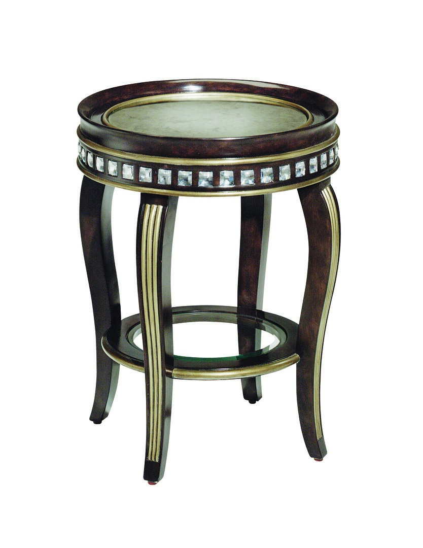 Gramercy Chairside Table shown with:Sumatra finishGlazed Silver Leaf finish trimCrystal accentsInset Antique Mirror top Inset clear glass shelf with beveled edge