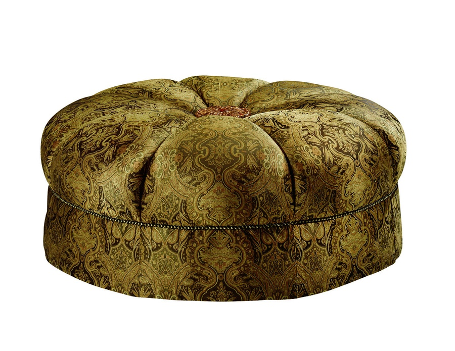 Garbo Ottoman shown with:Tight seat with center button in choice of select finishesBox pleated skirtAntique Brass nailhead trim