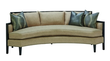 Hudson Sofa shown with:Boxed bench seatBuilt-to-the-floor withwood exposed legs in Caviar finishMerengue nailhead frame trimover decorative tape