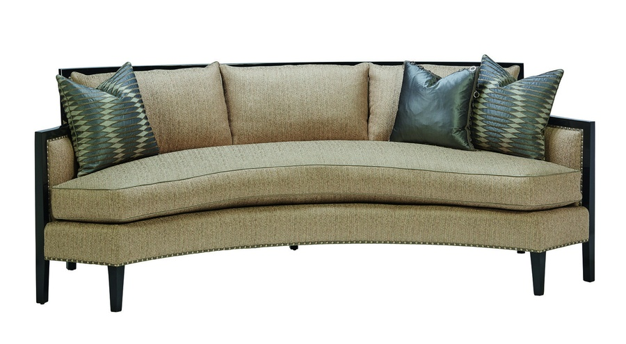 Hudson Sofa shown with: Boxed bench seatBall chain skirt withwood exposed legs in Bombay finishGunmetalnailhead frame trim over decorative tape