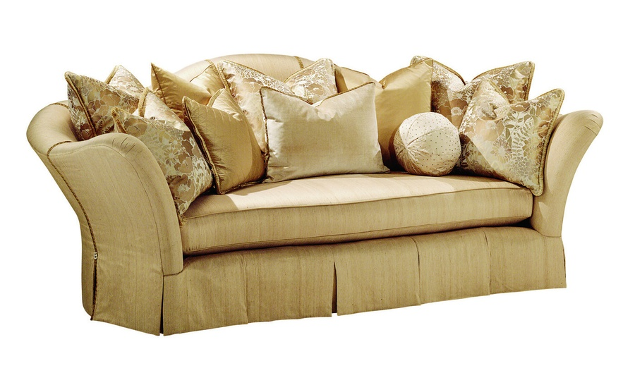 Holly Sofa shown with: Boxed bench seat Waterfall pleated skirt with contrast inset panelsDecorative button detail