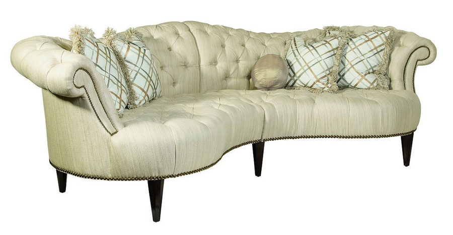 Ingrid 2-Piece Sofa shown with:Button tufted seat and backBuilt-to-the-floor base with exposed legs in Orleans finishZanzibar nailhead frame trim