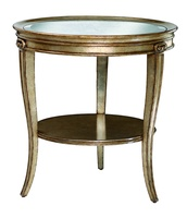 Ionia Chairside Table shown with:Versailles finishAntique Mirror top with beveled edge