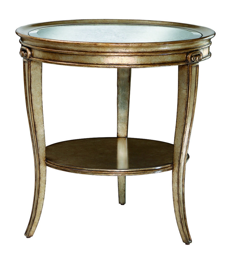 Ionia Chairside Table shown with:Havana finishAged Venetian Gold Leaf trimClear glass top with beveled edge
