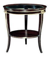 Ionia Chairside Table shown with:Bombay finishBurnished Silver Leaf trimClear glass top with beveled edge