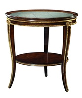 Ionia Chairside Table shown with:Havana finishAged Venetian Gold Leaf trimRegency Star glass top with beveled edge