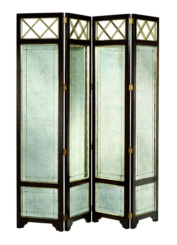 Ionia Four Panel Screen shown with:Bombay finishVersailles Leaf finish trimAntique Mirror panel insets