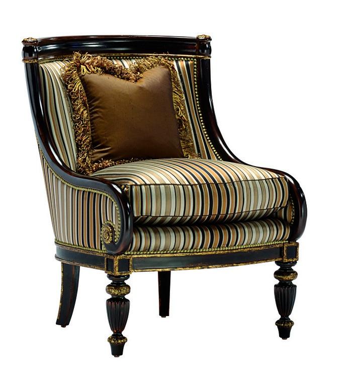 Ionia Lounge Chairshown with:Boxed seat cushionHavanafinishAged Venetian Gold Leaffinish trimBronze Star nailhead frame trim