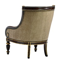 Ionia Lounge Chair shown with:Boxed seat cushionHavana finishAged Venetian Gold Leaf finish trimBronze Star nailhead frame trim