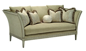 Ionia Sofa shown with: Boxed bench seatDover finishPewter nailhead frame trim