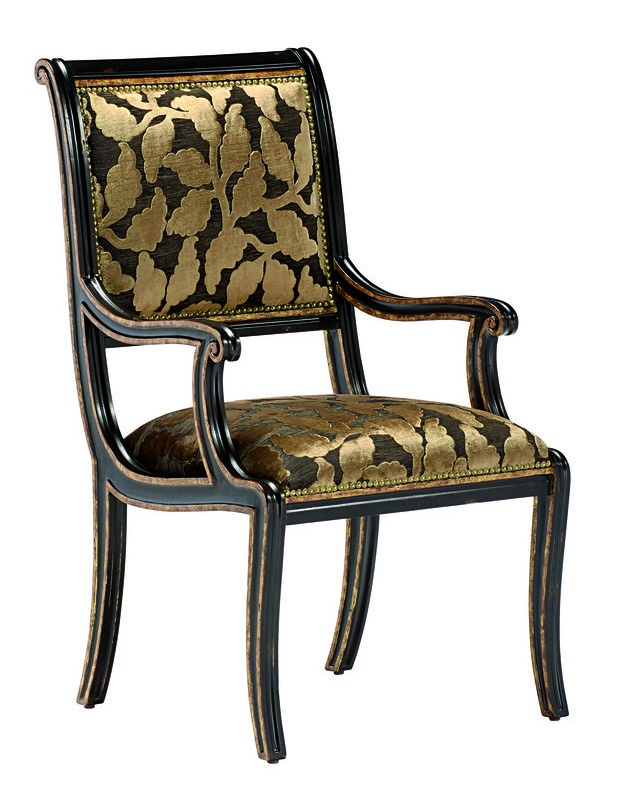 Ionia Arm Chair shown with:Tight seat and backNoche finishAged Venetian Gold Leaf finish trimZanzibar nailhead frame trim