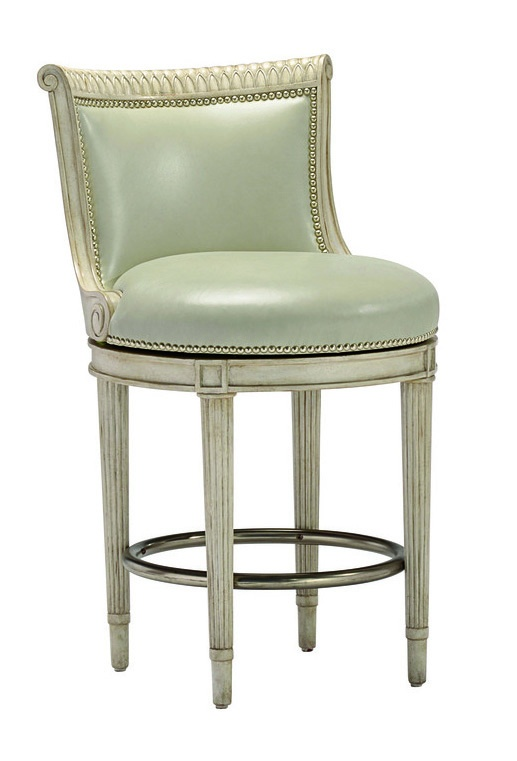Ionia Counter Stool shown with:Tight seat and backDover finishPewter nailhead frame trimAntique Nickel footrest