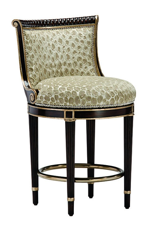 Ionia Counter Stool shown with:Tight seat and backDoverfinishPewternailhead frame trimAntique Nickel footrest